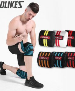 f40563fa65 AOLIKES 1pcs 200*8CM Knee Wraps Men's Fitness Weight Lifting Sports Knee  Bandages Squats Training Equipment Accessories for Gym