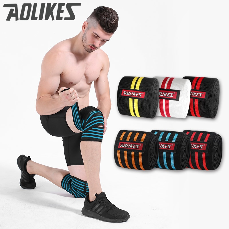 5fe6032073 AOLIKES 1pcs 200*8CM Knee Wraps Men's Fitness Weight Lifting Sports Knee  Bandages Squats Training Equipment Accessories for Gym